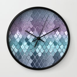 Mermaid Scales Navy Blue Teal Purple Glam #1 #shiny #decor #art #society6 Wall Clock