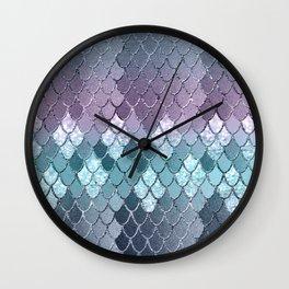 Mermaid Scales Navy Blue Teal Purple Glam #1 #shiny #decor #art #society6 Wall Clock