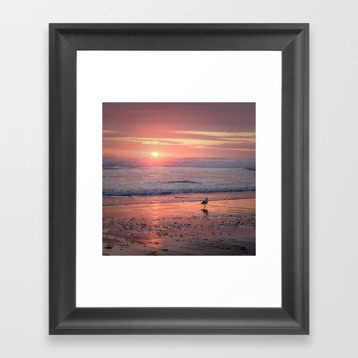 Sunset at Cannon Beach Oregon Framed Art Print