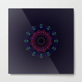 Bird and Flower Mandala in Black Metal Print