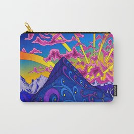 psychedelic colorful line nature mountain trees snowy peak moon sun rays hill road artwork stars sky Carry-All Pouch