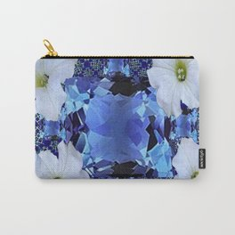 LONDON BLUE TOPAZ & WHITE PETUNIAS PATTERN Carry-All Pouch
