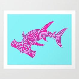 Nancy's Hot Pink Tribal Hammerhead Shark Art Print