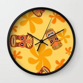 Retro Summer Tiki Room Wall Clock