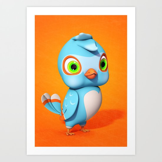 Toby Blue Bird Art Print