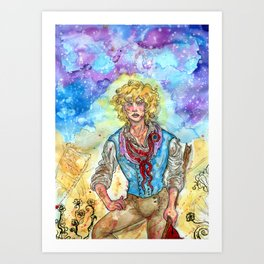a star in the jaws of the clouds Art Print