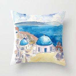 Santorini Oia View Mediterranean Dream Throw Pillow