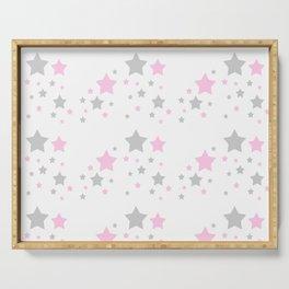 Pink Grey Gray Stars Serving Tray