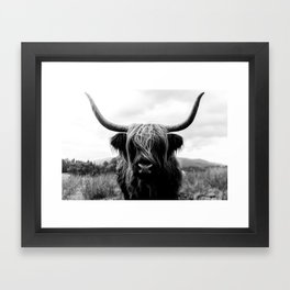Scottish Highland Cattle Black and White Animal Framed Art Print