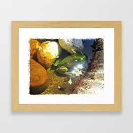Frog in a Fountain Framed Art Print