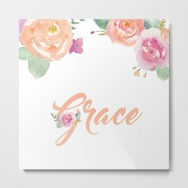 Grace Watercolour Name Metal Print