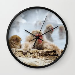 The Japanese macaque also known as the snow monkey Wall Clock