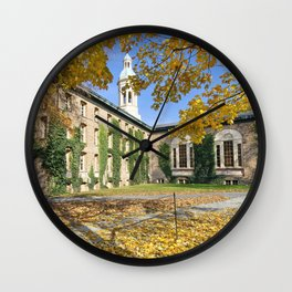 Nassau Hall with Fall Foliage, Princeton University, New Jersey Wall Clock