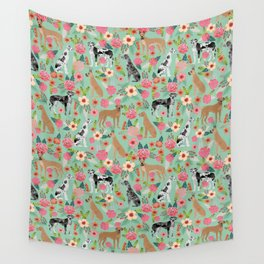 Great Dane floral dog breed pet friendly pet pattern great danes pure breed Wall Tapestry