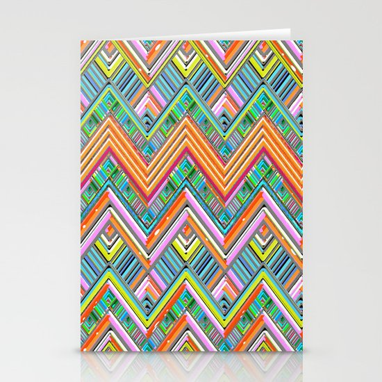 Chevron Neon Stationery Cards