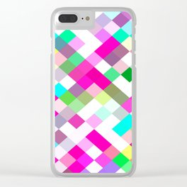 geometric square pixel pattern abstract in pink green yellow blue Clear iPhone Case
