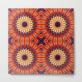 Coral Indigo Pinwheel Flowers Metal Print