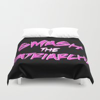 patriarchy Duvet Covers featuring Smash the Patriarchy by tjseesxe
