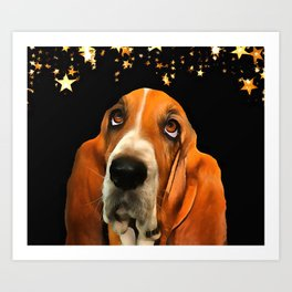 A Basset Hound. (Painting.) Art Print