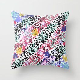 Colorful mess with tropical leaves Abstract  Throw Pillow
