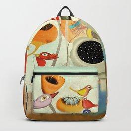Elephant Rupydetequila Birds Poppies Backpack