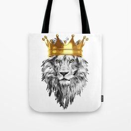 lion with a crown power king Tote Bag