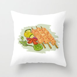 Chicken Kebabs Vegetables Drawing Throw Pillow