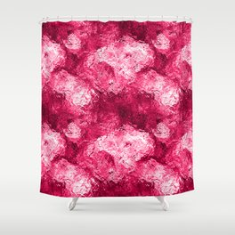 Neon Pink Metallic Patchwork Foil Shower Curtain