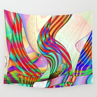 techno Wall Tapestries featuring techno-doodle by David  Gough