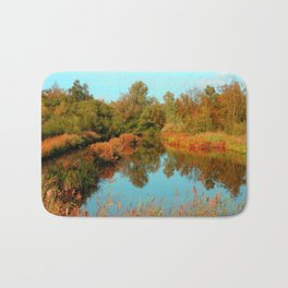 Autumn Colors Pond and Trees Bath Mat