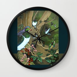 Pigeons, Parakeets and Fantails Wall Clock