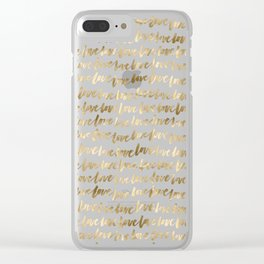 Gold Love Pattern Clear iPhone Case