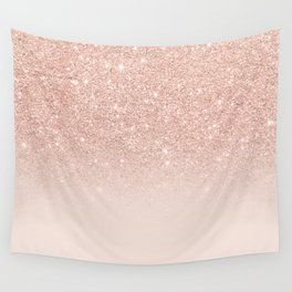 Rose gold faux glitter pink ombre color block Wall Tapestry