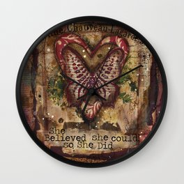 She Believed red butterfly mixed media Wall Clock
