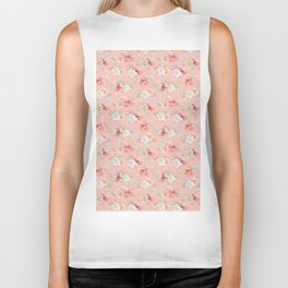 Coral pink green watercolor hand painted floral Biker Tank