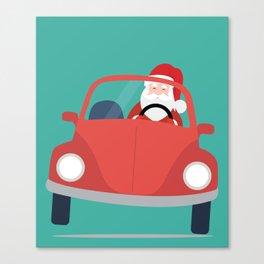 Santa Claus coming to you on his Car Sleigh Canvas Print