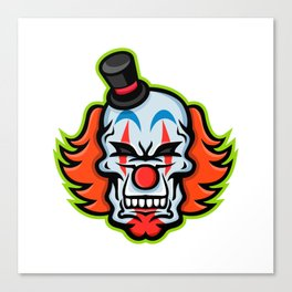 Whiteface Clown Skull Mascot Canvas Print
