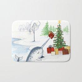 Christmas Narwhal Bath Mat