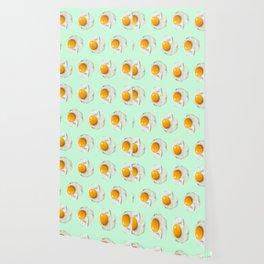 mint green funny food pattern breakfast eggs Wallpaper