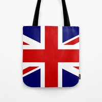 british flag Tote Bags featuring British Union Flag by PICSL8