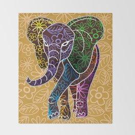 Elephant Floral Batik Art Design Throw Blanket