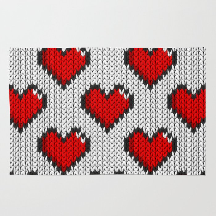 Knitted Heart Pattern White Rug By Knittedcake Society60 New Knitted Heart Pattern