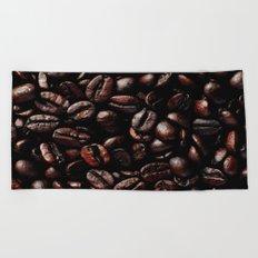 Dark Roasted Coffee Beans Beach Towel