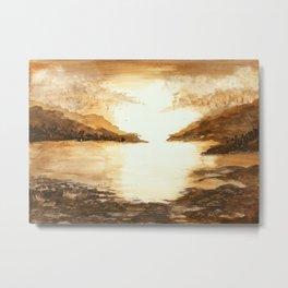 Golden Morn, Watercolor Beach Art Metal Print