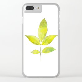 leaves painted with watercolor . designer paintings for eco-style . eco style interior . Sustainable Clear iPhone Case