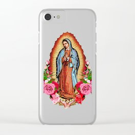 Our Lady of Guadalupe with roses Clear iPhone Case