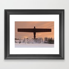 Angel of the North Winter Sunset Framed Art Print