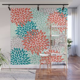 Floral Pattern, Living Coral, Teal and Mint Green Wall Mural