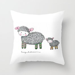 Seeps with socks Throw Pillow