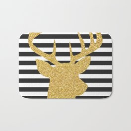 Gold Deer Black and White Stripes Bath Mat